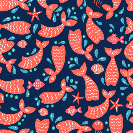 Seamless pattern with mermaid tails, starfishes, jellyfishes, shells. Color nursery background. Childish design. Perfect for textile, apparel, fabric, wrapping, wallpaper. Vector illustration.