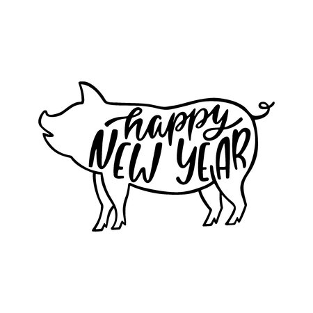 Happy New Year text. 2019 Chinese Year of the Pig. Hand drawn typography design. Calligraphy holiday inscription. Black ang white vector illustration isolated on white background.