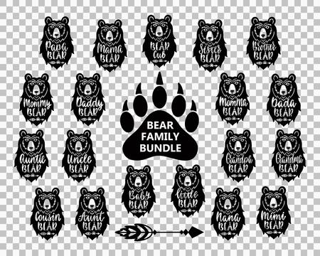 Pack famille ours : maman, papa, bébé, frère, sœur, maman, papa, grand-mère, grand-mère, oncle, tante. Phrases de typographie dessinées à la main avec des silhouettes de tête d'ours. Illustration vectorielle. Vecteurs