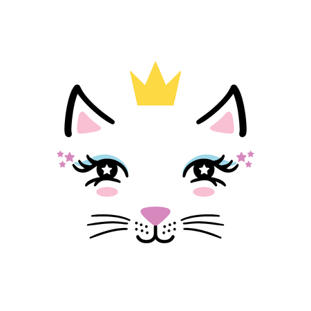 Hand drawn cute little kitty girl face with crown. Sketch isolated cartoon illustration for kids print, t-shirt, book, textile, room poster, greeting card. Vector clipart character.