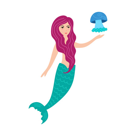 Hand drawn cute little mermaid girl with jellyfish. Color cartoon isolated illustration for kids print, t-shirt, book, textile, room poster, greeting card. Flat vector character. Иллюстрация