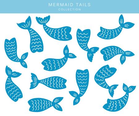 Ensemble de silhouettes de queues de sirène. Éléments marins plats dessinés à la main. Illustrations vectorielles isolées sur fond blanc.
