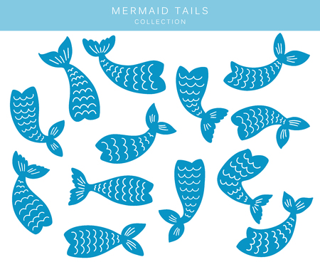 Set of mermaid tails silhouettes. Hand drawn flat marine elements. Vector illustrations isolated on white background.  イラスト・ベクター素材