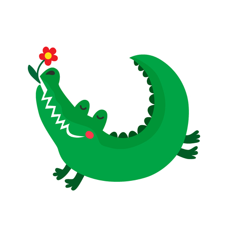 Hand drawn cute crocodile with flower. Color cartoon isolated illustration for kids. Sketch vector character. Иллюстрация