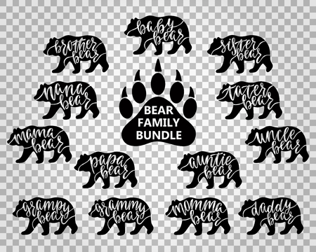 Bear family bundle: Mama, papa, baby, brother, sister, momma, daddy, grampy, grammy, uncle, auntie, nana, tater, paw. Hand drawn typography phrases with bear silhouettes. Vector illustration. Illustration