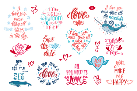 Set of positive inspirational quotes for Valentines Day. Modern calligraphy hand drawn phrases about love. Vector lettering for print, tshirt, poster, greeting card. Holiday typography design. Ilustrace