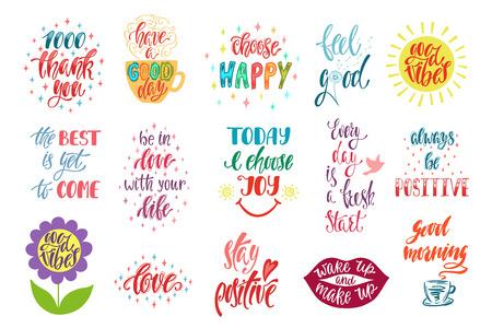 Bonnes vibrations, choisissez heureux, amour, merci et autres. Ensemble de citations inspirantes positives. Phrases dessinées à la main de calligraphie moderne. Lettrage de vecteur pour impression, tshirt, affiche. Conception typographique. Vecteurs