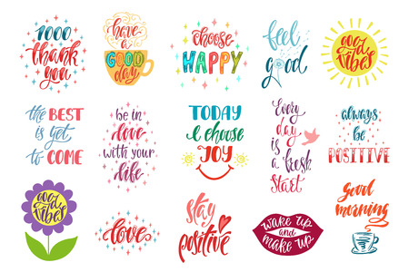 Good vibes, choose happy, love, thank you and others. Set of positive inspirational quotes. Modern calligraphy hand drawn phrases. Vector lettering for print, tshirt, poster. Typographic design. Vetores