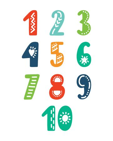 Hand drawing funny numbers. Doodle cartoon numeral elements for print, poster. Typography design.