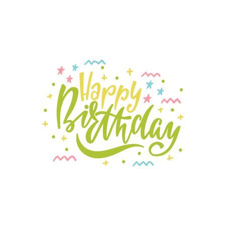 Happy Birthday hand drawn typography design. Handwritten lettering.