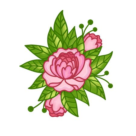 Bouquet of peonies. Hand drawn vector illustration isolated on white background.