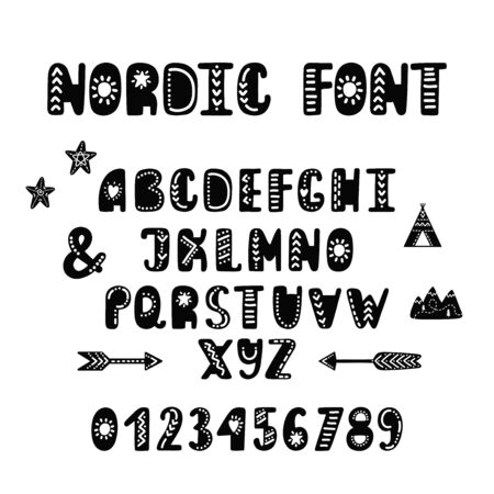 Alphabet hand drawn letters and numbers in scandinavian style. ABC with simple ornament.