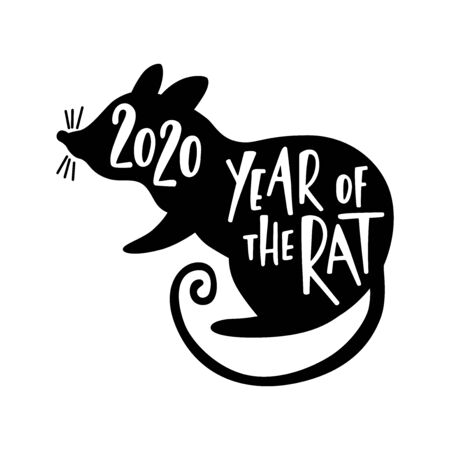 Happy Chinese New Year typography greeting card. 2020 Year of the Rat. Hand drawn lettering design. Vettoriali