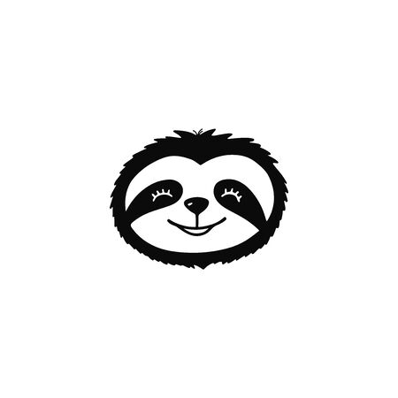 Doodle sloth bear face for print design, poster, t-shirt. Cute cartoon character. Vettoriali