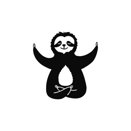Cartoon sloth bear meditates in lotus position. Hand drawn cute doodle vector illustration.