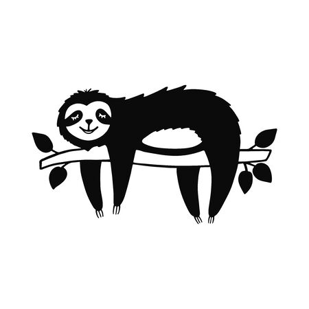 Cartoon sloth bear hanging on a branch. Hand drawn cute doodle vector illustration.