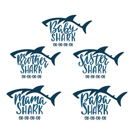 Mama, papa, baby, brother, sister shark. Hand drawn typography phrases with shark silhouettes. Family collection. Vettoriali