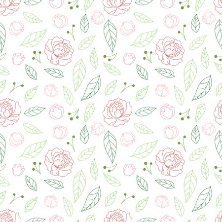 Seamless pattern with peonies and leaves. Elegant hand drawn floral background. Vettoriali