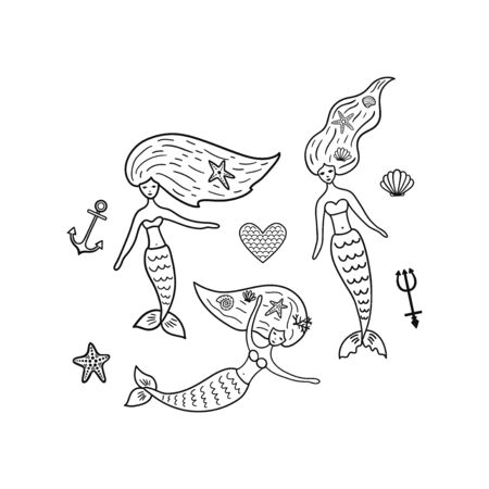 Set of underwater doodle elements: mermaids, seashell, starfish, heart, anchor, trident.