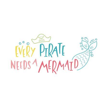 Mermaid cartoon vector illustration. Summer inspirational lettering phrase Illustration