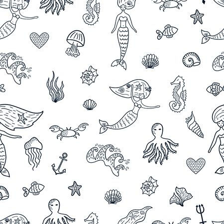 Marine seamless pattern with doodle elements: mermaids, seashells, starfishes, octopus, waves, anchor. Vettoriali