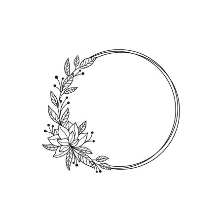 Hand drawn doodle flower wreath with magnolia. Sketch floral frame for wedding, invitation, greeting card, print. Monochrome vector illustration isolated on white background.