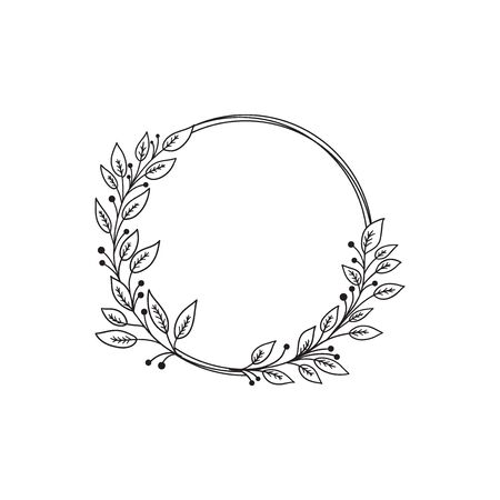Hand drawn doodle laurel wreath. Sketch floral frame for wedding, invitation, greeting card, print. Monochrome vector illustration isolated on white background. Vettoriali