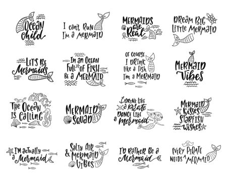 Bundle of mermaids cards. Handwritten inspirational quotes about summer.