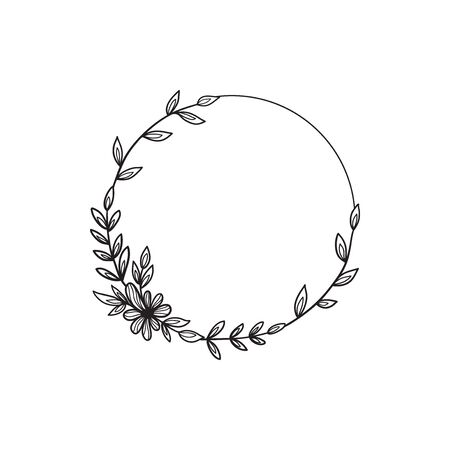 Hand drawn doodle flower wreath. Sketch floral frame for wedding, invitation, greeting card, print. Monochrome vector illustration isolated on white background.