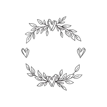 Hand drawn doodle laurel wreath with hearts. Sketch floral frame for wedding, invitation, greeting card, print. Monochrome vector illustration isolated on white background.