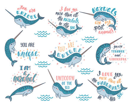 Set of hand drawn cute funny narwhals with inspirational quotes. Doodle whales. 向量圖像