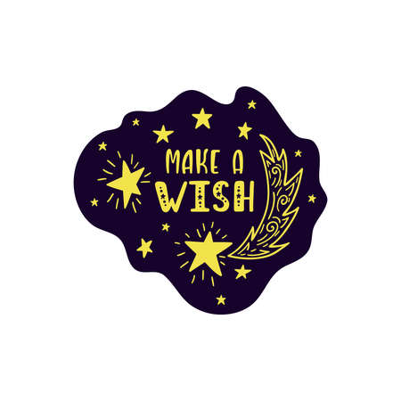 Inspirational vector lettering phrase: We Are Made Of Stars. Hand drawn kid poster.