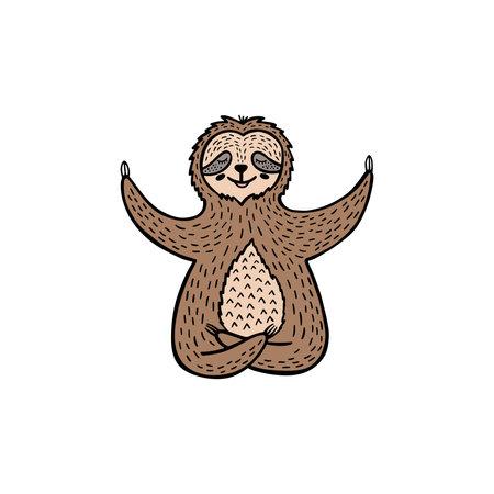 Cartoon sloth bear meditates in lotus position. Hand drawn cute doodle vector illustration.