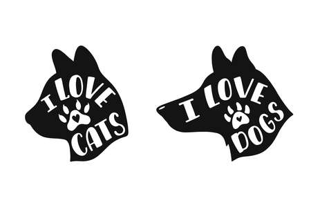I love cats. I love dogs. Handwritten inspirational quotes about cat and dog.