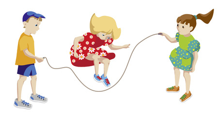 playmates: Children playing jumping rope