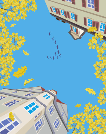 migratory birds: migratory birds flying over an old european town in autumn Illustration