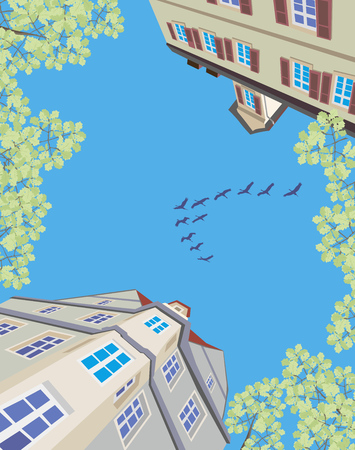 migratory: migratory birds flying over an old european town in spring