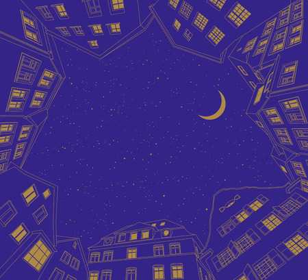 urbane: Vector illustration of night city with the stars and the moon