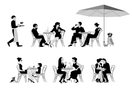 A vector illustration of series of fashion people, men and women, sitting and drinking coffee in the street cafe.