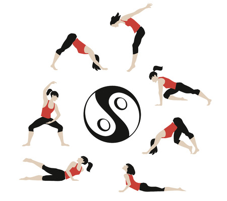Vector illustration of girl exercised deepwork, yoga, pilates, fitness.
