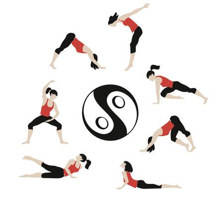 grounding: Vector illustration of girl exercised deepwork, yoga, pilates, fitness.