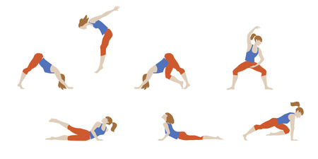Vector illustration of girl exercised deepwork, yoga, pilates, fitness.