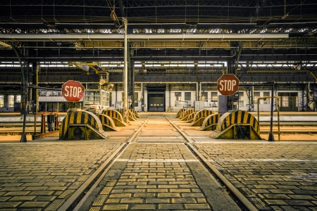 industrial background: Photo of an Abandoned industrial interior with bright light