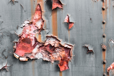 oxidized: rusty paint metal plate Stock Photo