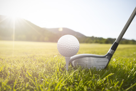 a golf clubs and golf balls in the grass photo