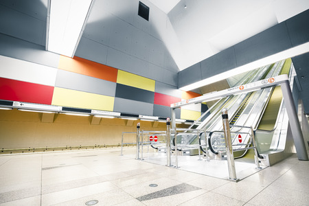 Interior of a modern subway station, escalator Stock Photo - 29755578
