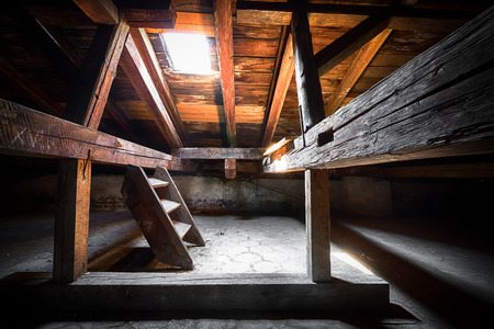 attic: the attic of an old building, detail
