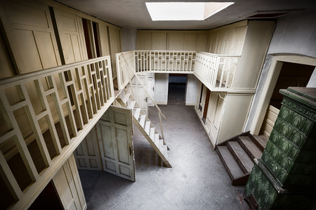 an old building the room of garderobe, interior Stock Photo