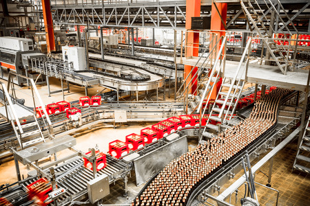 conveyors: Interior of a modern brewery, equipment, tools