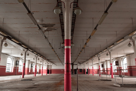 empty warehouse: an empty industrial warehouse interior, old beer house
